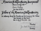 Barre Toelken's membership certificate as a Fellow of the American Folklore Society
