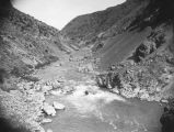 View looking down Bear River Canyon, Utah, at lower falls of the Bear River, about 1905