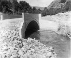 Concrete bridge over Box Elder Creek at mouth of Box Elder Canyon leading to Mantua, Utah, 1913