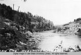 Damsite at Alexander, Idaho,  looking south down Bear River, Idaho, 1922