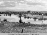 View of the ox-bows along the Bear River at Benson, Utah in the 1960s