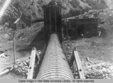 Second Dam flume to Logan City hydroelectric plant, about 1904