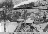 Construction of Cutler Dam in Bear River Canyon, Utah, 1923