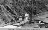 Cutler Dam construction in Bear River Canyon, Utah, 1925-1927