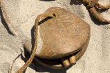 Somali Camel Bell, the two clapper parts and a portion of the collar visible;