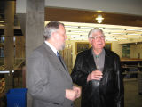 Richard Clement and Thad Box during the opening night reception of the Bells exhibit;