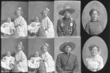 Mrs. Hans Knudsen (2 children - 4 poses), Willie Neamon (2 poses), Minnie Poulsen  and friend...