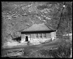 Hydro-electric power house at mouth of Box Elder Canyon;