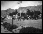 Brigham City Band and a costumed rider on horse back;