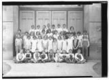 Schoolchildren posed outside School in Willard, Utah
