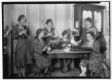 "Women at work in unidentified office, possibly that of the ""Box Elder Journal"" (Lenora..."