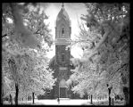 Winter scene of Brigham City Tabernacle;