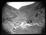 View looking down Bear River Canyon, shows lower falls of the Bear River;