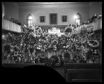 Large floral display for a funeral in the Brigham City Tabernacle;