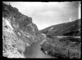 Wheelon Coffer Dam and head gate at West Side Canal view looking East, Bear River Canyon;