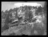 Log boarding house at Upper Camp, Baker Mine in Baker Canyon, Utah;