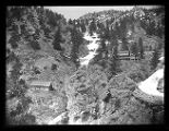 Log boarding house and bunk house, Upper Camp at Baker Mine, Baker Canyon;