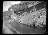 East Side irrigation canal in Bear River Canyon (note trestle of the Union Pacific Railroad above...