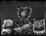 Floral display for the funeral of James Brigham Nelson and his sisters (includes their portraits);