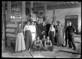 Employees and equipment in the Barron Woolen Mills;
