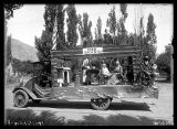 "Pioneer float for Mrs. A.W.C. with a sign reading ""Utah: A Home of the '50's"" (2 of 2);"