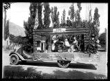 "Pioneer float for Mrs. A.W.C. with a sign reading ""Utah: A Home of the '50's"" (1 of 2);"