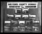 "Photo of an exhibit entitled ""Box Elder County Schools- Before and After Consolidation,..."