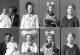 Miss Ester Bott (2 poses), Miss Henerita Bott (2 poses), Mrs. Adolph Christensen (2 poses), Mr....