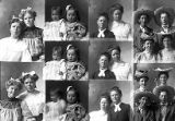 Miss Adana and Ara Frazier (2 poses - far right), Gidney and Smith and ladies (2 poses), Mrs....