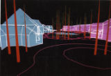 3-D wireframe drawing of Kananaskis Village buildings;