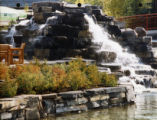 Waterfall outside resort hotel, Kananaskis Village;