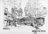 Ribbon Creek Village streetscape, black and white;