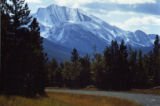 Landscape view of mountains and gravel road in  Kananaskis Country, Alberta;