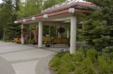 Covered patio at the resort hotel at Kananaskis Village, Alberta, Canada;