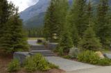 Stairs and walkway at a resort hotel at Kananaskis Village, Alberta, Canada;