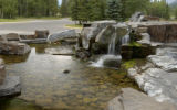 Waterfall outside resort hotel, Kananaskis Village