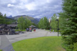 Sidewalk at a resort hotel at Kananaskis Village, Alberta, Canada;