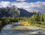 Stream and mountains in  Kananaskis Country, Alberta
