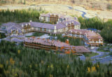 Bird's-eye view of resort hotel at Kananaskis Village, Alberta, Canada;