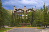 Entry to a resort hotel at Kananaskis Village, Alberta, Canada.