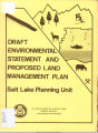 U.S.D.A. - Forest Service Environmental Statement Salt Lake Planning Unit Proposed Land Management...