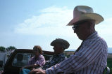 Ella Tanner, Herbert Tanner, and Winfred Kimber on Senior Citizen's float, Fourth of July Parade...