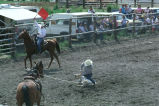 Doug Tanner calf-roping in the Fourth of July rodeo (GCCS_CTC027_7)