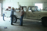 Milt Oman with truck to be fixed at the Simplot shop in Murtaugh, Idaho (GCCS_CHC004_17)