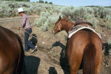 Barney McWilliams with horse at Emigrant Canyon to herd cattle down to Moulton, Idaho...