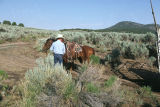 Milton Oman with horse at Emigrant Canyon to herd cattle down to Moulton, Idaho (GCCS_CHC014_4