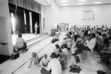 Stage and audience during the Fourth of July patriotic program in the Grouse Creek, Utah, school...