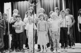 Grouse Creek school children singing song about America during Independence Day program...
