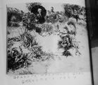 "Copy of photo: """"Grandpa Hadfield's grave -- Grandma Hadfield and Ted""""..."