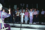 Vocal number by Grouse Creek school children during the 4th of July variety show (GCCS_CCE015_19)